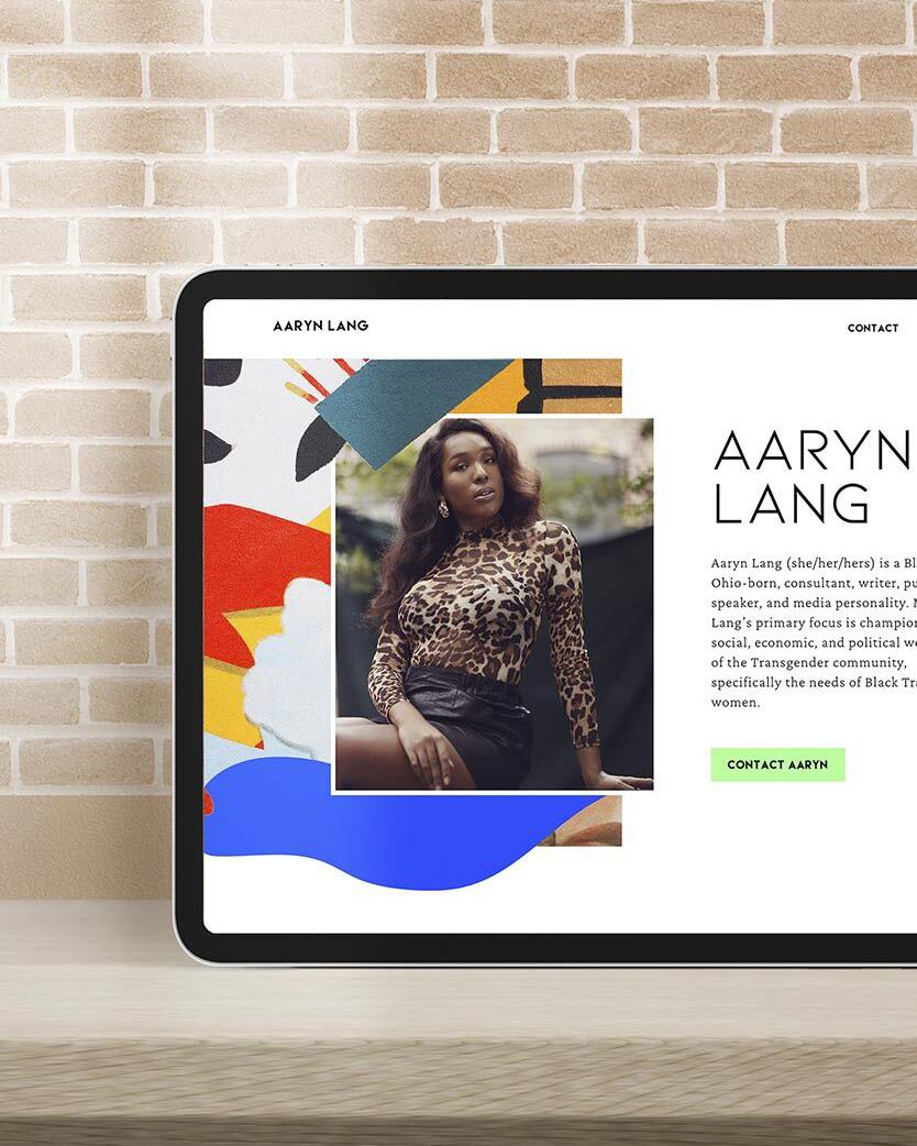 Aaryn Lang website displayed on a tablet