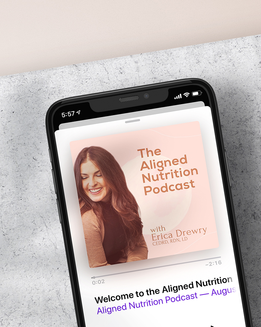 The Aligned Nutrition Podcast logo image displayed on a smartphone podcast player