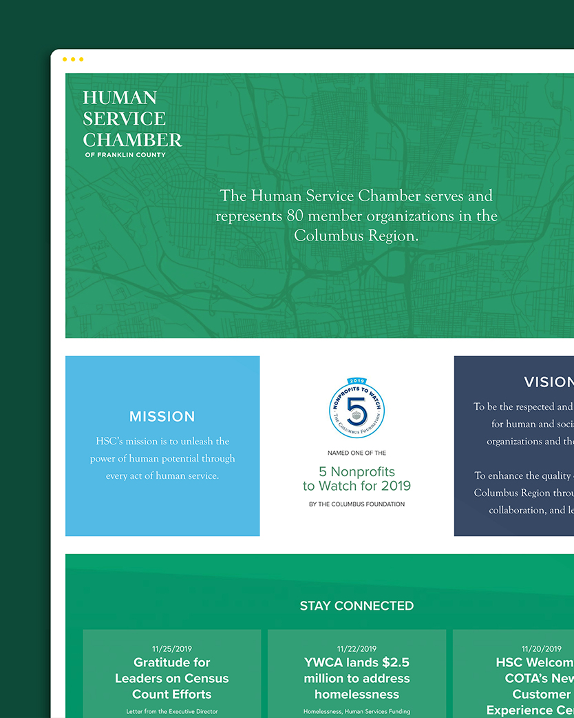 Human Service Chamber of Franklin County website displayed on a tablet