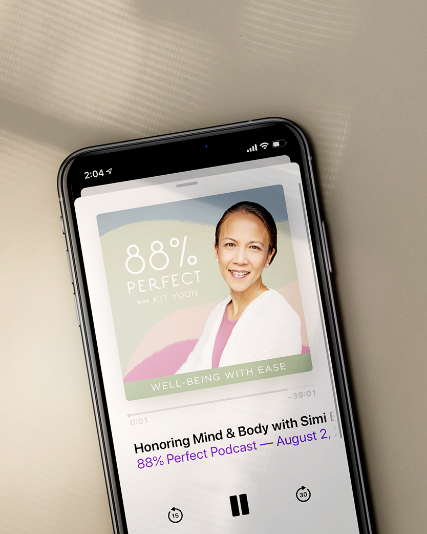 88% Perfect with Kit Yoon Podcast logo displayed on a smartphone podcast player