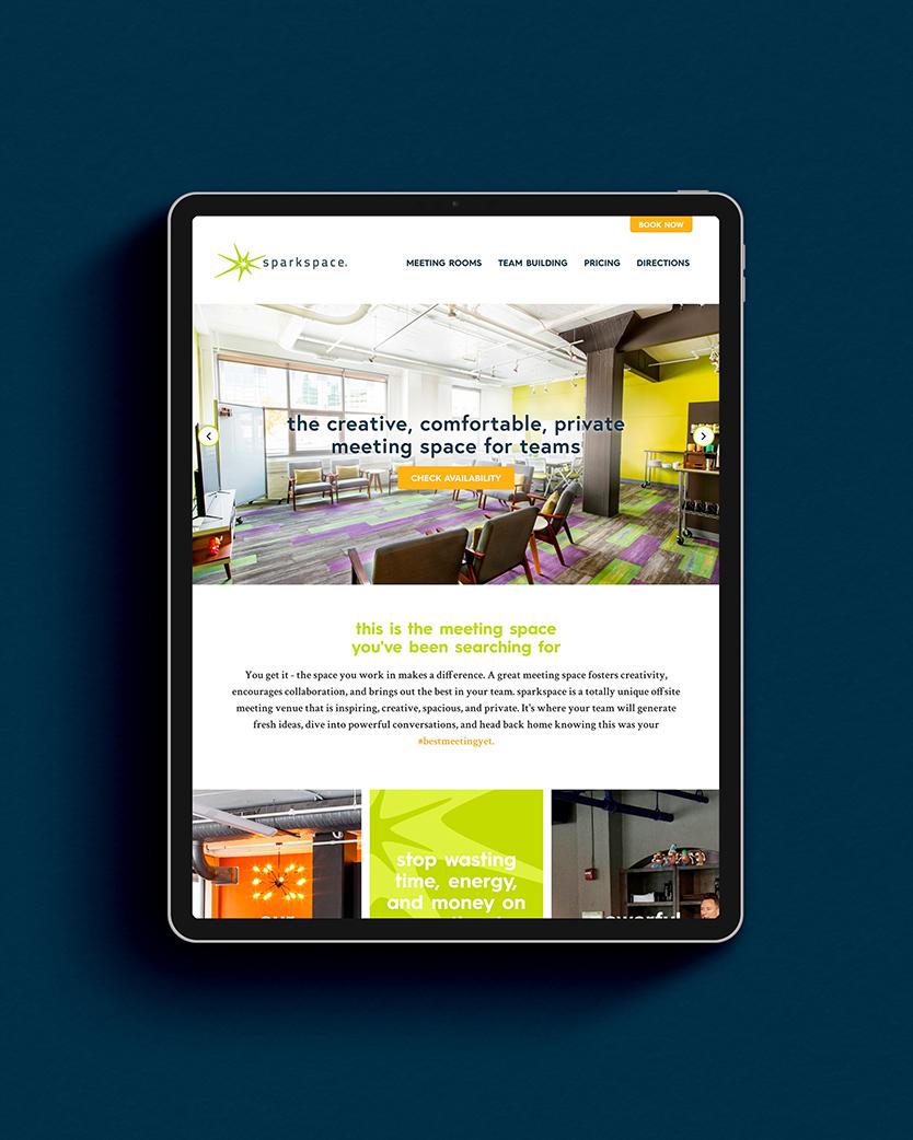 sparkspace website displayed on a tablet